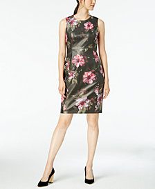 Calvin Klein Floral-Printed Faux-Leather Sheath Dress