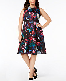 Calvin Klein Plus Size Floral Printed A-Line Dress