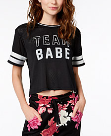 Material Girl Juniors' Mesh Varsity Graphic T-Shirt, Created for Macy's