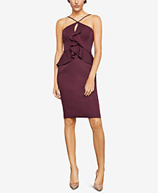 BCBGMAXAZRIA Sleeveless Halter Peplum Dress