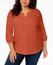 Style & Co Plus Size Cotton Lace-Trimmed Top, Created for Macy's
