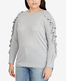Lauren Ralph Lauren Plus Size Ruffle-Sleeve Sweater