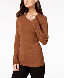 JM Collection Studded-Cuff Sweater, Created for Macy's