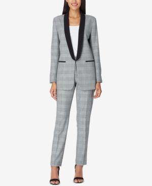 Tahari Asl SHAWL-COLLAR PLAID PANTSUIT