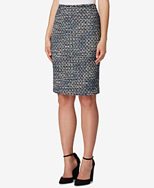 Tahari ASL Bouclé Sequin Pencil Skirt