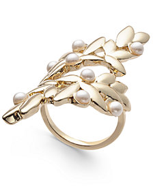 I.N.C. Gold-Tone & Imitation Pearl Leaf Statement Ring, Created for Macy's