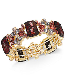 I.N.C. Gold-Tone Stone & Lace Stretch Bracelet, Created for Macy's