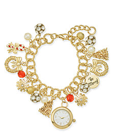 Charter Club Gold-Tone Crystal, Stone & Imitation Pearl Watch Charm Bracelet, Created for Macy's