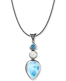 """Multi-Stone 21"""" Pendant Necklace in Sterling Silver"""
