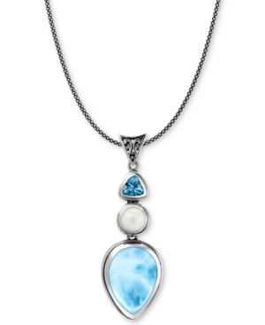 "Marahlago Multi-Stone 21"" Pendant Necklace in Sterling Silver"