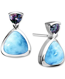 Larimar & Mystic Topaz (1/5 ct. t.w.) Stud Earrings in Sterling Silver