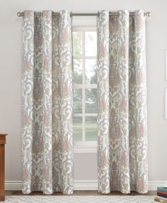 """No. 918 Liliana 48"""" X 63"""" Paisley Damask Print Casual Textured Grommet Curtain Panel"""