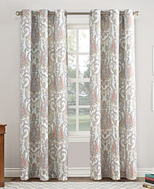 "Lichtenberg No. 918 Liliana 48"" X 95"" Paisley Damask Print Casual Textured Grommet Curtain Panel"