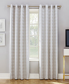 "Sun Zero Rowes 52"" X 63"" Woven Trellis Blackout Lined Grommet Curtain Panel"