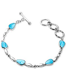 Larimar Link Toggle Bracelet in Sterling Silver