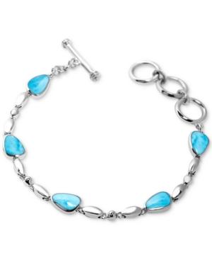 Larimar Link Toggle Bracelet in Sterling Silver