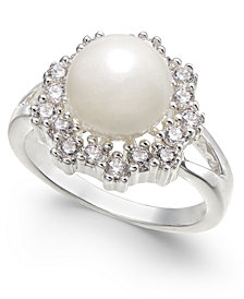 Charter Club Silver-Tone Crystal & Imitation Pearl Halo Ring, Created for Macy's