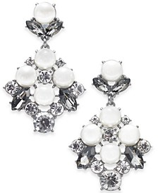 Silver-Tone Imitation Pearl & Crystal Drop Earrings, Created for Macy's