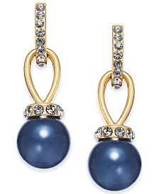 Charter Club Gold-Tone Crystal & Colored Imitation Pearl Drop Earrings, Created for Macy's