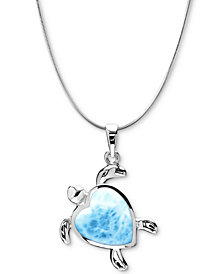 "Marahlago Larimar Heart Turtle 21"" Pendant Necklace in Sterling Silver"