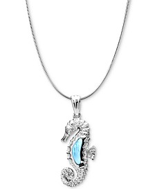 "Marahlago Larimar & White Topaz Accent Seahorse 21"" Pendant Necklace in Sterling Silver"
