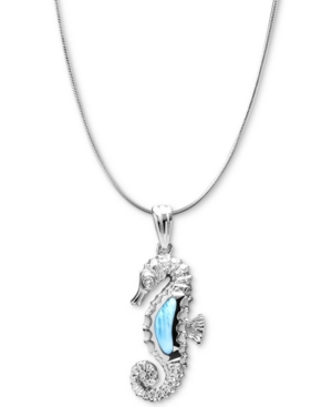 """Larimar & White Topaz Accent Seahorse 21"""" Pendant Necklace in Sterling Silver"""