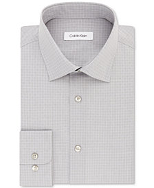 Calvin Klein Men's STEEL Classic/Regular Fit Non-Iron Performance Gray Check Dress Shirt