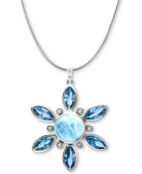 """Marahlago Multi-Stone Flower 21"""" Pendant Necklace in Sterling Silver"""