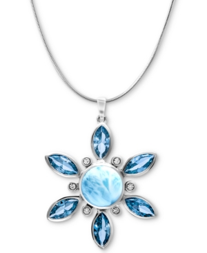 """Multi-Stone Flower 21"""" Pendant Necklace in Sterling Silver"""