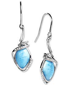 Marahlago Larimar & White Sapphire (1/10 ct. t.w.) Drop Earrings in Sterling Silver