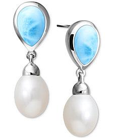 Marahlago Freshwater Pearl (7 x 11mm) & Larimar Drop Earrings in Sterling Silver