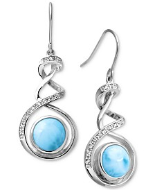 Marahlago Larimar & White Sapphire (1/8 ct. t.w.) Spiral Drop Earrings in Sterling Silver