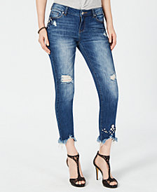 I.N.C. Petite Embellished Fray-Hem Cropped Jeans, Created for Macy's