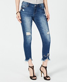 I.N.C. Curvy-Fit Embellished Ripped Ankle Jeans, Created for Macy's