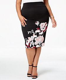 Alfani Plus Size Printed Pencil Skirt, Created for Macy's