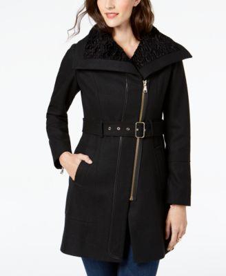 7146b3790f7d9 GUESS Asymmetrical Faux-Fur-Lined Walker Coat   Reviews - Coats - Women -  Macy s
