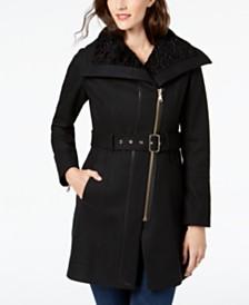 GUESS Asymmetrical Faux-Fur-Lined Walker Coat