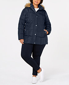 Tommy Hilfiger Plus Size Faux-Fur-Trim Hooded Puffer Coat