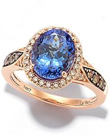 Chocolatier® Blueberry Tanzanite (2-1/2 ct. t.w.) & Diamond (3/8 ct. t.w.) Ring in 14k Rose Gold