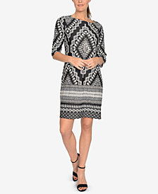 NY Collection Petite Mixed-Print Jacquard Necklace Dress