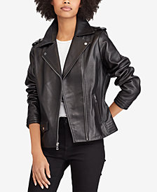 Lauren Ralph Lauren Asymmetric Zip Leather Moto Jacket