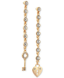 GUESS Gold-Tone Crystal Heart Lock & Key Mismatch Drop Earrings