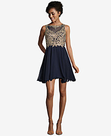 Xscape Embroidered Cutout Fit & Flare Dress