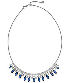 "Danori Silver-Tone Stone & Crystal Marquise Statement Necklace, 15"" + 3"" extender, Created for Macy's"