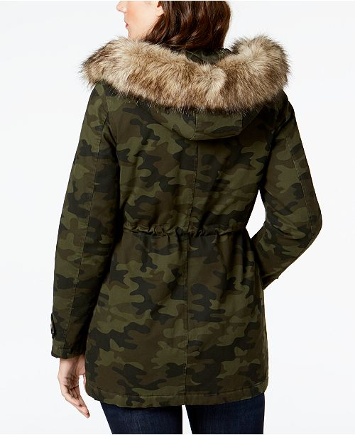 Coat BCBGeneration Printed Anorak Trim Camo Faux Fur 6qqwRgXF