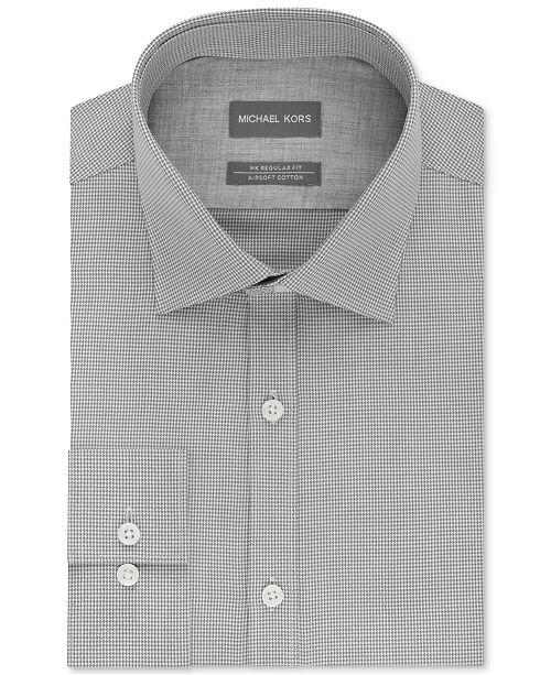 Michael Kors Men's Classic/Regular Fit Non-Iron Airsoft Stretch Performance Check Dress Shirt, Online Exclusive