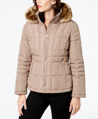 Petite Faux-Fur-Trim Hooded Puffer Coat