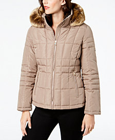Calvin Klein Petite Faux-Fur-Trim Hooded Puffer Coat