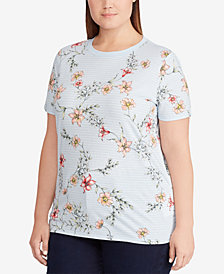 Lauren Ralph Lauren Plus Size Floral-Print Cotton Top