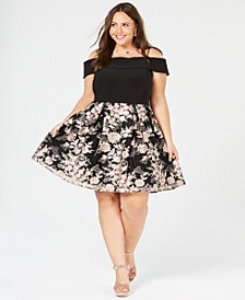 Trendy Plus Size Off-The-Shoulder Embroidered Dress